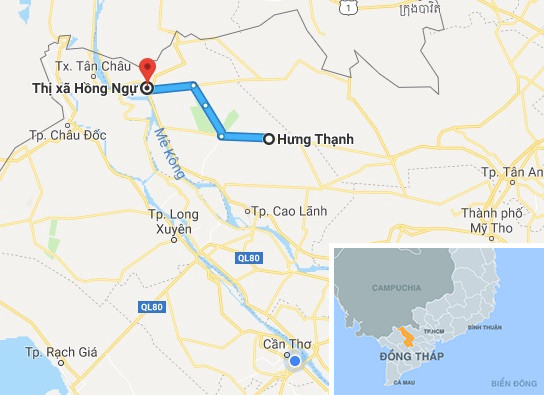 Tuyến đường từ thị xã Hồng Ngự đến xã Hưng Thạnh (Tháp Mười). Ảnh: Google Maps.